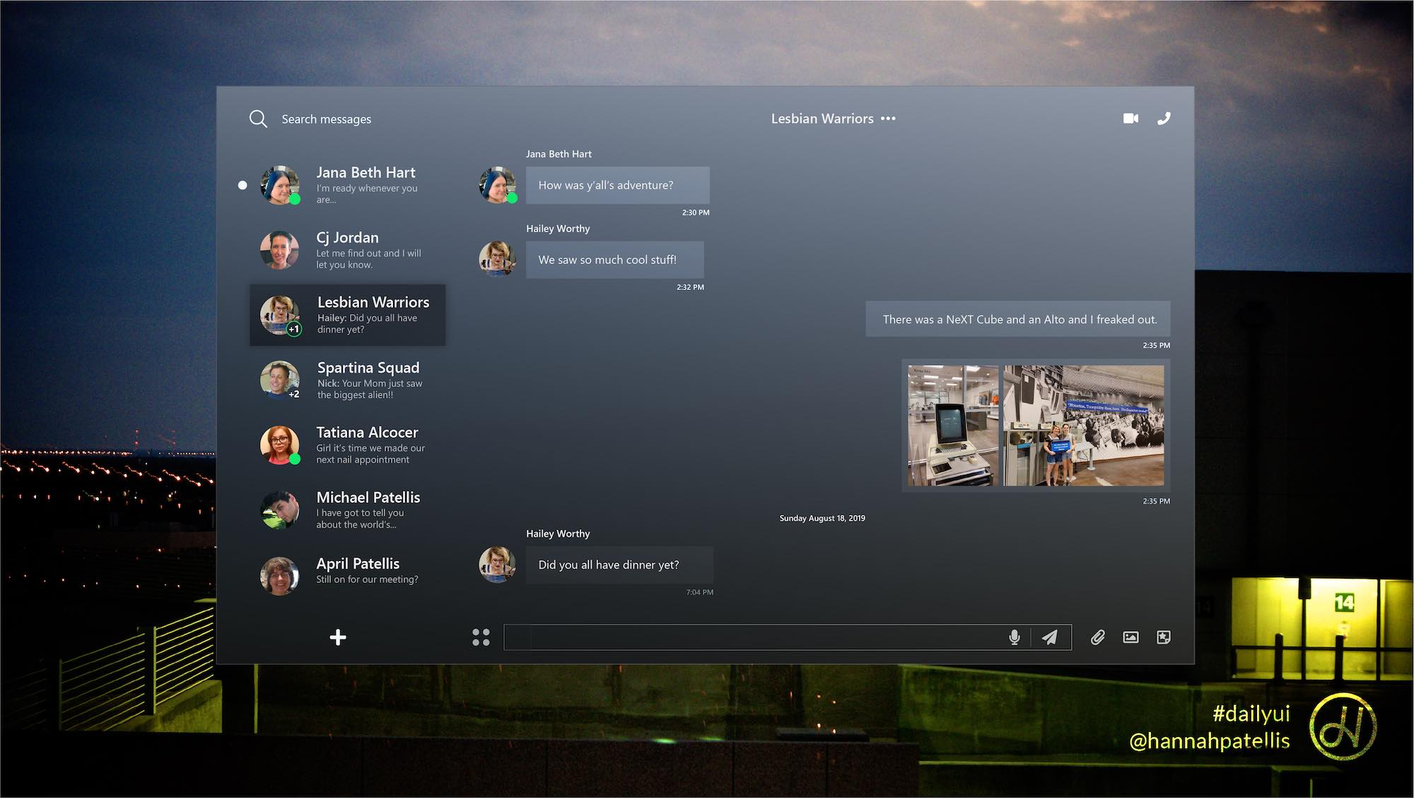 Direct messaging user interface design
