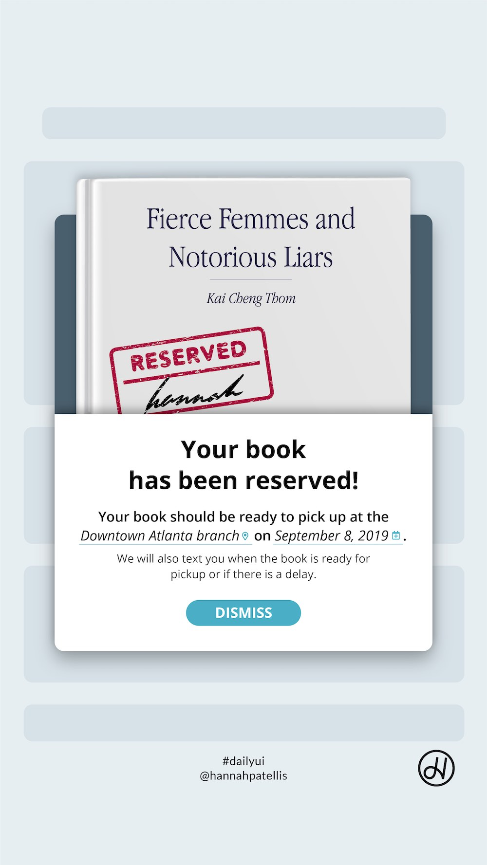 Flash message user interface design displaying a confirmation for a book reservation at a library