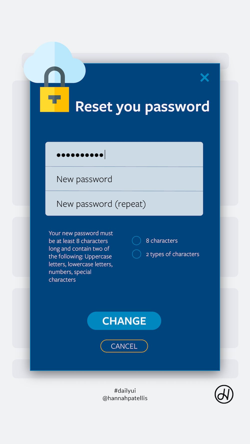 Pop-up password reset user interface design