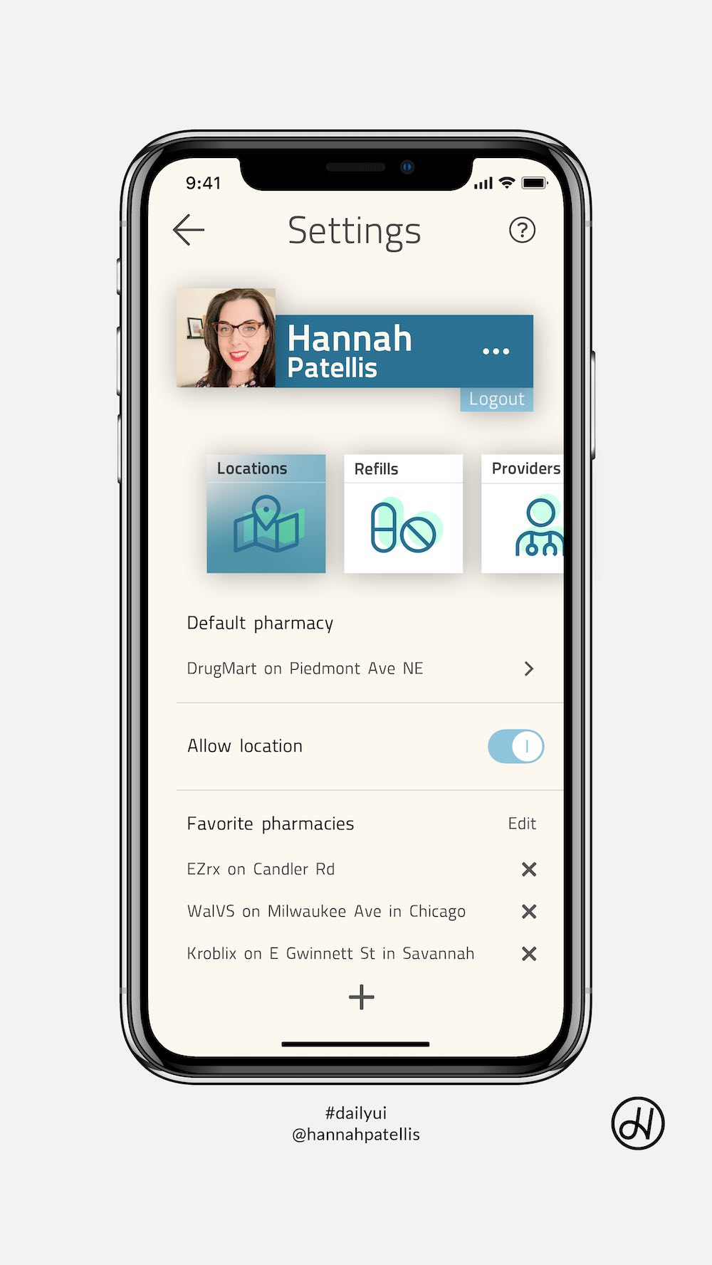 Settings screen user interface design for a pharmacy application on iOS