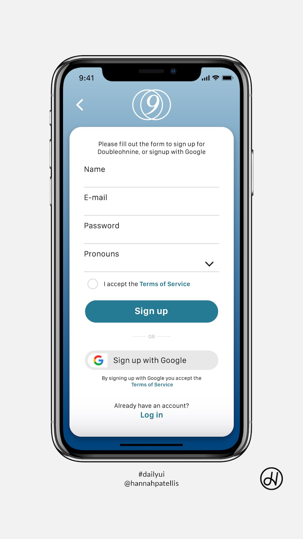 Signup screen user interface design on iOS